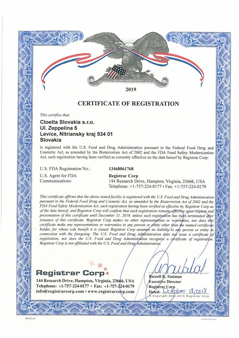 FDA Certificate of registration 2019-1