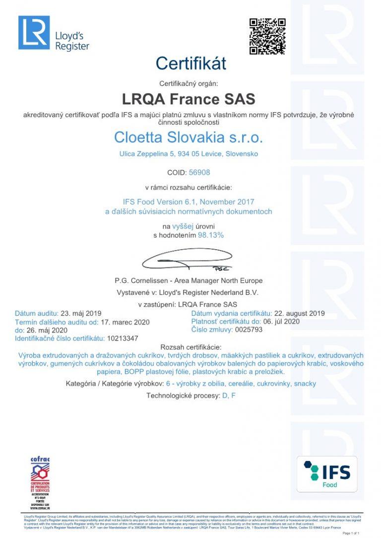 IFS certificate sk